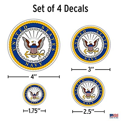 Officially Licensed U.S. Navy Decals - 4 Piece US Military Stickers for Truck or Car Windows, Phones, Tablets & Laptops – Large Military Decals 1.75 to 4 Inches – Car Decals Military Collection: Automotive