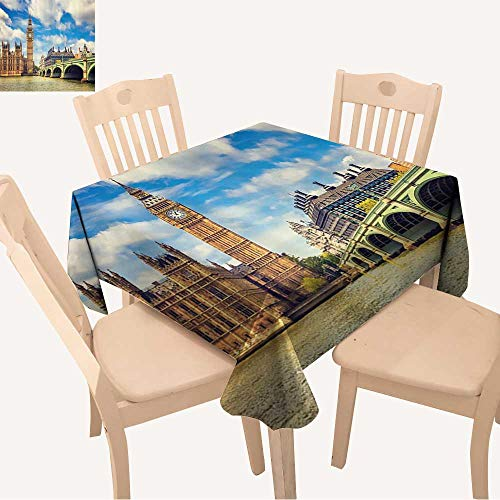 (UHOO2018 Square/Rectangle Polyester Cloth Fabric Cover Clock Tower and Westminster Bridge in Partly Cloudy in Spring Table Top Cover,23 x 23inch)