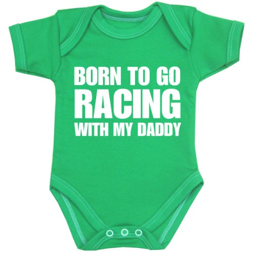 Go Green Infant Onesie - BabyPrem Baby Born to go Racing with my Daddy Bodysuit NB-12 mth GREEN 0-3