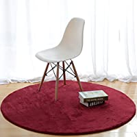 MAXYOYO Round Solid Short Velvet Carpet Living Room Bedroom Soft Shag Area Rug Round Floor Mat Yoga Mat, Ultra Soft Non-Slip Back Floor Mat, Diameter 31.5 inch