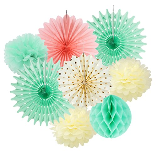 Party Paper Fans Decoration Pom Poms Flowers Kit for Baby Shower Wedding Birthday Carnibal Decoration SUNBEAUTY 8 Pieces (Mint Cream Pink)