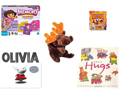 Children's Gift Bundle - Ages 3-5 [5 Piece] - Dora The Explorer Edition Memory Game - Jell-O Alphabet Jigglers Molds - Ty Beanie Baby - Chocolate the Moose - Olivia Board Book - A Book of HugsPape