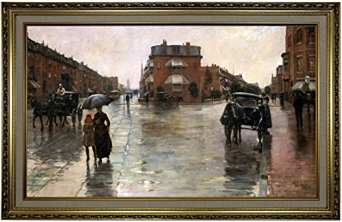 Historic Art Gallery Rainy Day, Boston 1885 by Childe Hassam Framed Canvas Print, 19
