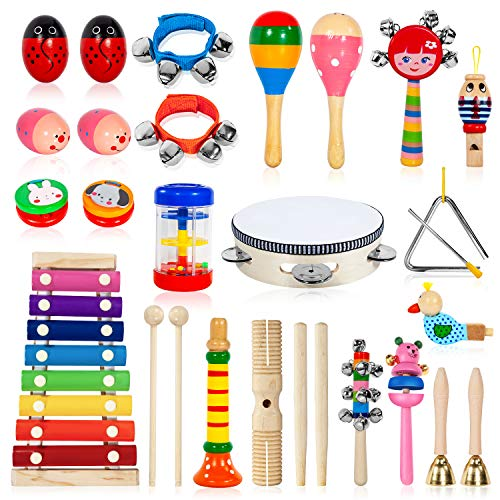 AILUKI Toddler Musical Instruments,24PCS 17 Types Wooden Percussion Instruments Tambourine Xylophone for Kids Preschool Education,Early Learning Musical Toy for Boys and Girls with Storage (Best Musical Instruments For Kids)