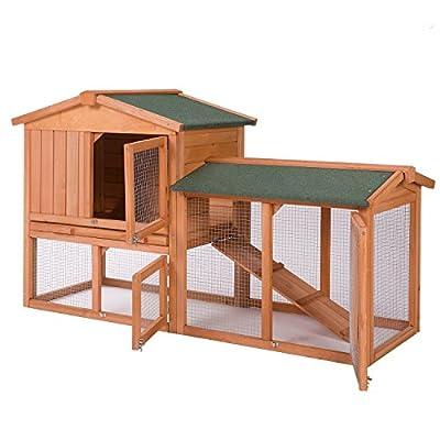 "58"" Rabbit Hutch Chicken Coop Wooden Bunny Animal Hen Cage Backyard Garden by Merax"