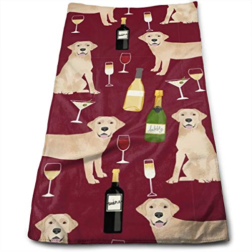 Yellow Lab Wine Labrador Retriever Dog Breed Ruby Hand Towels Dishcloth Floral Linen Hand Towels Super Soft Extra Absorbent for Bath,Spa and Gym 11.8