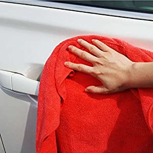 """MaxLit Premium Microfiber Cloth - Pack of 6 Best Cleaning Towels for Fine Automobile finishes, Car Windows & Interiors- Great for Glass- Non Scratching, Streak Free- Use Wet or Dry- 16"""" x 16"""""""