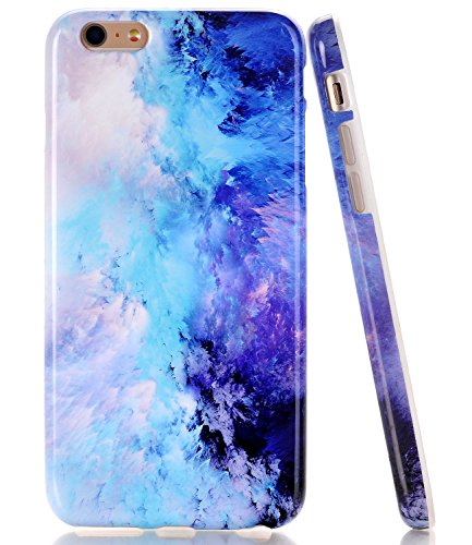 Iphone Blue Silicone Skin - iPhone 5 Case, SE Case Blue Mint Opal Marble BAISRKE Slim Flexible Soft Silicone Bumper Shockproof Gel TPU Rubber Glossy Skin Cover Case for Apple iPhone 5 5S SE