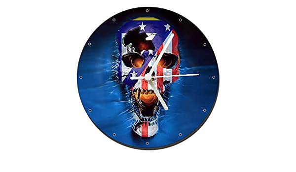 Atletico De Madrid Calavera Skull Reloj de Pared Wall Clock 20cm: Amazon.es: Hogar