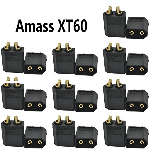 Amass Black XT60 10pairs & Insulated CAPS Male & Female Connectors/Plug/Socket -