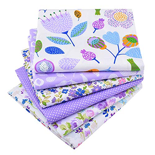 Purple Fat Quarters Fabric Bundles, Precut Quilting Fabric for Sewing Crafting,18