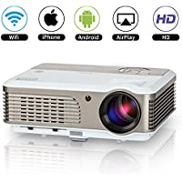 2017 New Updated Home LED Wifi Projector HD 1080P Movie Game 2600 Lumens Android LCD Wireless 1080P Video Projector with HDMI USB VGA AV Audio Built-in Speakers for Samsung Galaxy iPhone Kindle iPad