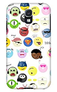 Case Fun Samsung Galaxy S4 (I9500) Case - Vogue Version - 3D Full Wrap - Cartoon Faces