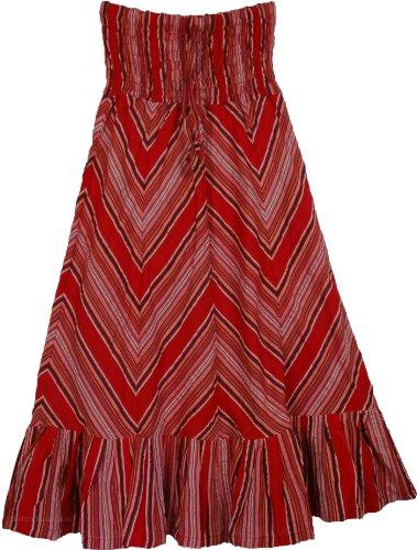 "TLB - Red Sheer Sucker Summer Skirt Size Small - L: 38"" ;..."