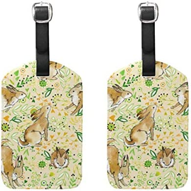 ウサギパターン荷物タグ2個ポータブルAddr名タグホルダー識別子ラベルチェックカード旅行バッグスーツケース