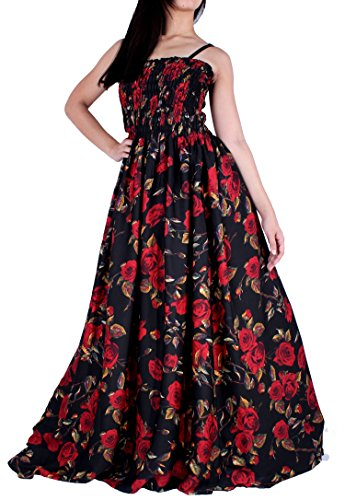 (MayriDress Maxi Dress Plus Size Clothing Black Ball Gala Party Sundress Designer (Large, Black/Red Rose))
