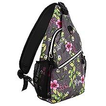 MOSISO Sling Backpack,Travel Hiking Daypack Pattern Rope Crossbody Shoulder Bag, Space Gray Base Flower