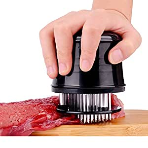 Meat Tenderizer Spikes Needle with Cleaning Brush, SATU BROWN Professional Cookware 56 Stainless Steel Blades Kitchen Gadget Tenderizing Steak Chicken Beef