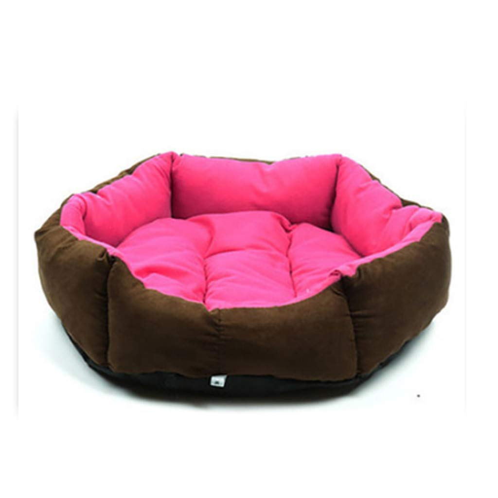 M(15 kg inside pet) Soft pink Red Hexagonal Pet Nest Four Seasons Universal Removable And Washable Small Medium Velvet Cat Kennel Villa Warm Cushion HAODAMAI (Size   M(15 kg inside pet))