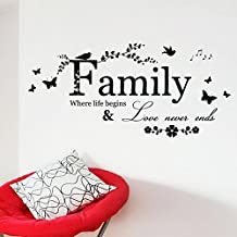 Weksi®Wall Decor Stickers Quotes Love Never Ends Flower Family Quote wall stickers Vinyl Decals