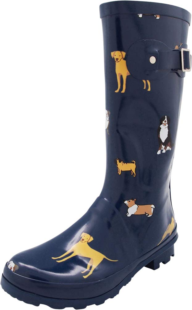 NORTY - Womens Hurricane Wellie Printed Look at Me Dog Mid-Calf Rain Boot, Blue 40711-8B(M) US