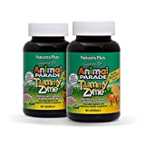 Natures Plus Animal Parade Source of Life Tummy Zyme Childrens Chewable (2 Pack) - Tropical Fruit Flavor - 90 Animal Shaped Tablets - Digestive Aid - Vegetarian, Gluten Free - 90 Servings