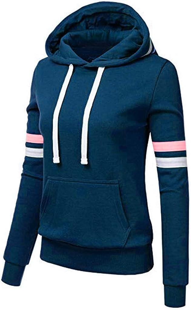Hengshikeji Basic Lightweight Pullover Hoodie Sweatshirt for Women Causal Long Sleeve Hooded Tops with Pocket
