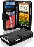 Cadorabo Hülle für HTC ONE X/X+ - Hülle in OXID SCHWARZ – Handyhülle mit 3 Kartenfächern - Case Cover Schutzhülle Etui Tasche Book Klapp Style