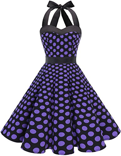 DRESSTELLS 50s Retro Halter Rockabilly Polka Dots Audrey Dress Cocktail Dress Black Purple Dot XS
