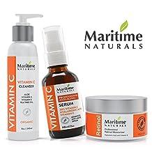 Maritime Naturals Face Bundle 1% Retinol Anti Aging Moisturizer Cream With Hyaluronic acid, 20% Vitamin C Serum & Vitamin C Facial Cleanser, Organic, Minimize Pores, Eliminate Breakouts & Smoothen Wrinkles