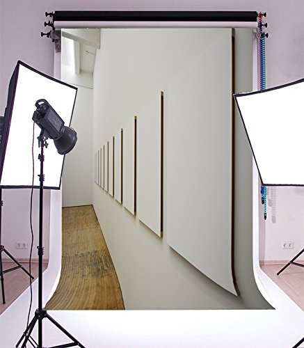 Laeacco 5x7FT Vinyl Backdrop Photography Background Wooden Stripe Floor Modern Hotel White Cement Wall Artistic Sweet Children Baby Portraits Backdrop 1.5(W)x2.2(H)M Photo Studio (W Hotel Halloween Event)