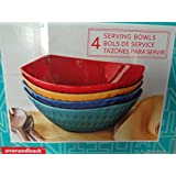 Over-And-Back 4 Stoneware Serving Bowls Set in 4 different Rich Vibrant colors, New Product Line called Manhattan, with Vitality Resources Recipe Book
