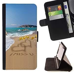 Momo Phone Case / Flip Funda de Cuero Case Cover - Del amor del corazón I Miss U Sand Beach Ocean Summer - Sony Xperia M2