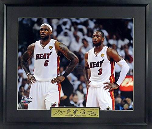 "Miami Heat LeBron James & Dwyane Wade ""Champions"" 16x20 Photograph (SGA Signature Engraved Plate Series) Framed (Miami Heat Championship)"