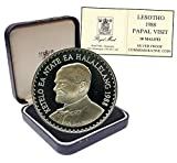 1988 LS Papal (Pope) Visit Lesotho 10 Maloti, 28.28 g Silver Proof Coin, 1988, KM#50, Mint, Papal (Pope) Visit 10 Maloti Uncirculated Lesotho Mint