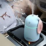 TechCode Car Humidifier Diffuser, 170ML Rabbit Ultrasonic Humidificador Air Humidifier with LED Light USB Aroma Diffuser Home Car Atomizer Air Purifier (Blue)