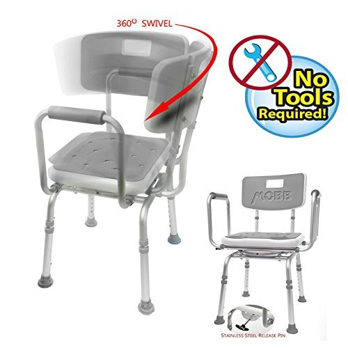 MOBB Premium Bathroom Swivel Shower Chair Bath Bench with Back, 360 Degree Swivel Seat with Locking Mechanism