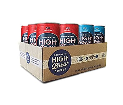 High Brew Cold Brew Coffee Double Espresso/Mexican Vanilla Variety Pack 8 oz Can (12 Count) Grab & Go Pre-Made Cold Brew Fair Trade Coffee Low-Acidity Caffeine Drink
