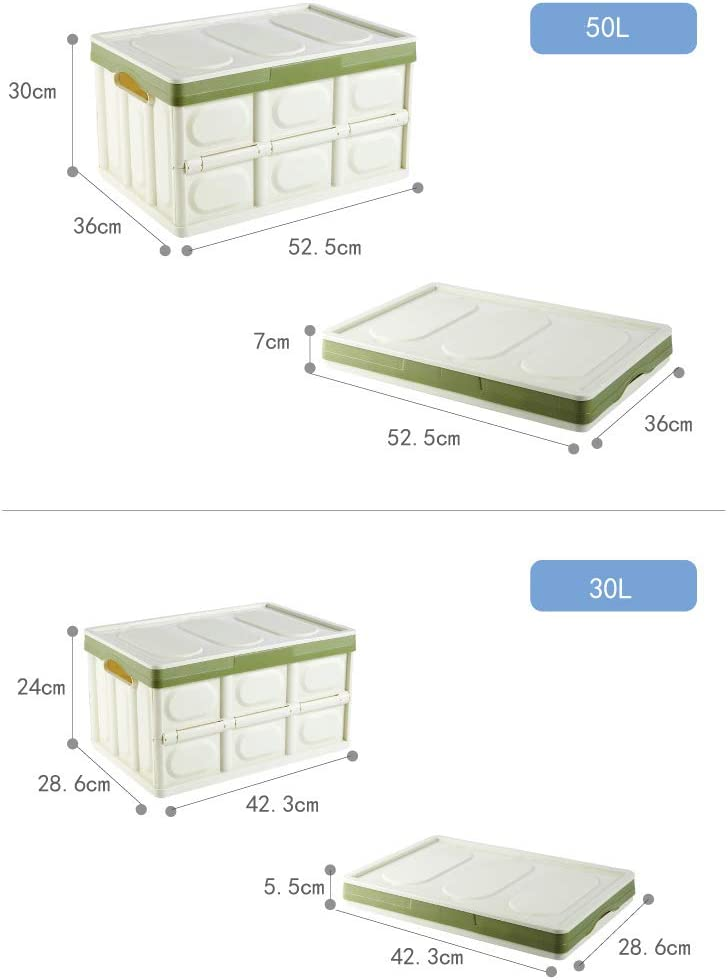 blue, 30L Thickened plastic folding storage box with extra large storage cover car multi-functional folding storage box