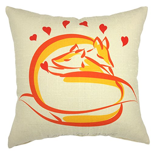 YOUR SMILE Fox Cotton Linen Square Decorative Throw Pillow Case Cushion Cover 18x18 Inch(44CM44CM) (Fox Square)