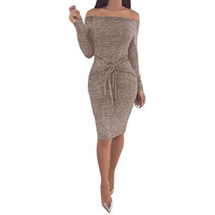 f7d5b0bdf0d8 Image Unavailable. Image not available for. Color  Vanvler Women Winter Bodycon  Dresses Winter Off The Shoulder Evening Party Mini ...
