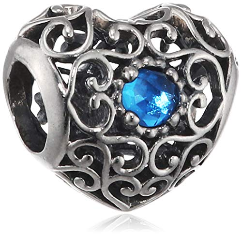 (Pandora December Signature Heart Silver Charm with London Blue Crystal 791784NLB)