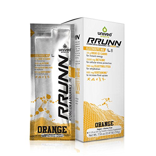 Unived RRUNN During Isotonic Electrolyte Sports Drink Mix, Hydration & Endurance, Box of 6 Packets (0.5lbs, 214g) (Orange)
