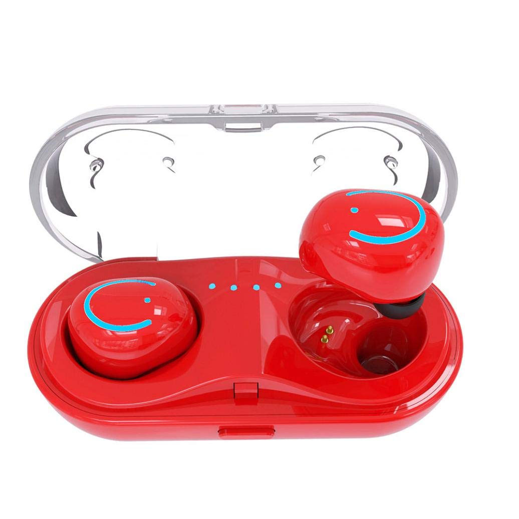Sonmer Mini Wireless Twins Hifi Bluetooth Stereo In-Ear Handfree Earbuds, with Charging Dock (Red)