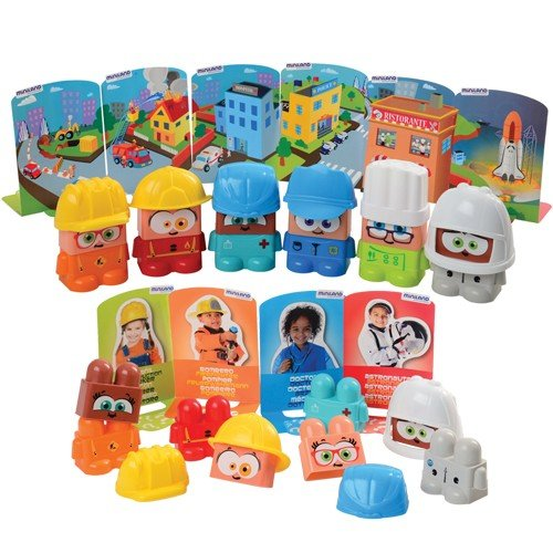 (Constructive Playthings MNL-40 Job Blocks Interchangeable Pieces to Represent 6 Professional Characters, Grade: Kindergarten to 2, Set of 18)