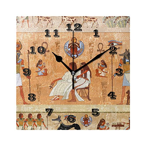 - AUUXVA SEULIFE Wall Clock Ancient Egypt Egyptian, Silent Non Ticking Clock for Kitchen Living Room Bedroom Home Artwork Gift