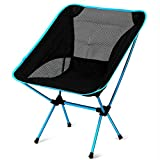 EDTara Light Folding Fishing Chair Portable Seat Stool With Carrying Bag for Camping Hiking Gardening Camping Picnic BBQ Sky Blue