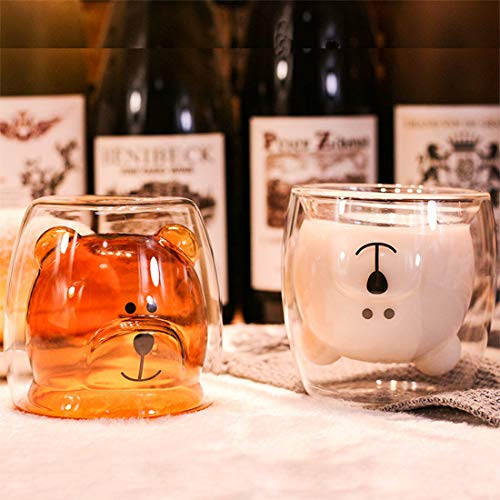 Cute Mugs Bear Tea Coffee Cup Milk Couple Double Wall Glass Mugs Funny Valentine's Day Birthday Gifts for You
