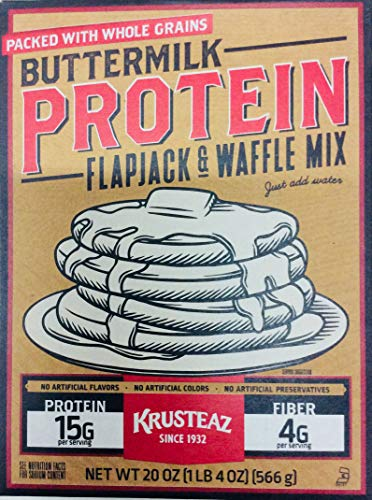 Krusteaz Buttermilk Protein Flapjack and Waffle Mix 20 Ounce (Pack of 2)