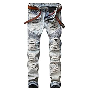 Men's  Light Blue Straight Fit Distressed Ripped Moto Biker Denim Jeans